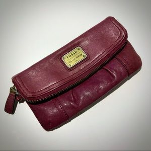 Fossil leather clutch purse